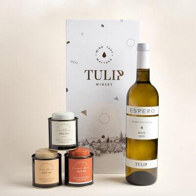 יין לבן ושוקולד בקופסאות פח טוליפ-מארזי יין