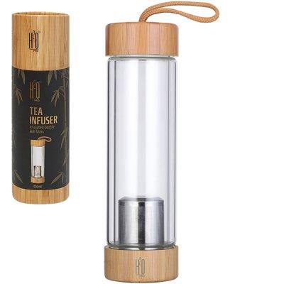 בקבוק לחליטה שילוב זכוכית ובמבוק -מתנות חורף
